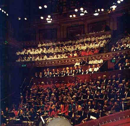Picture of all choirs on stage at Royal Albert Hall
