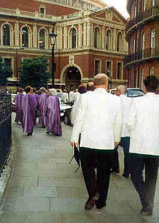 Picture of choir members outside RAH