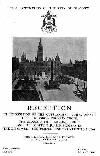 Picture of ticket to Civic Reception in Glasgow